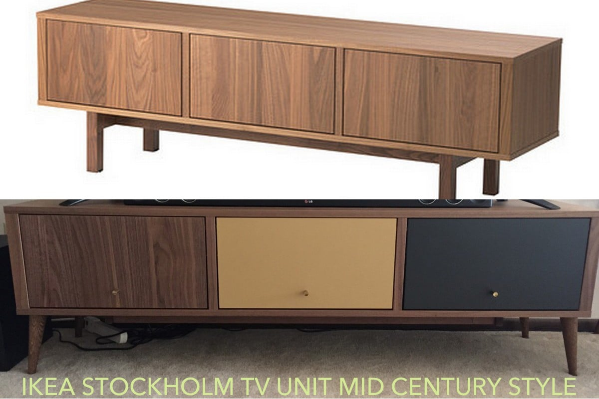 Ikea Credenza Tv Stand : Ikea stockholm mid century tv stand redo hackers
