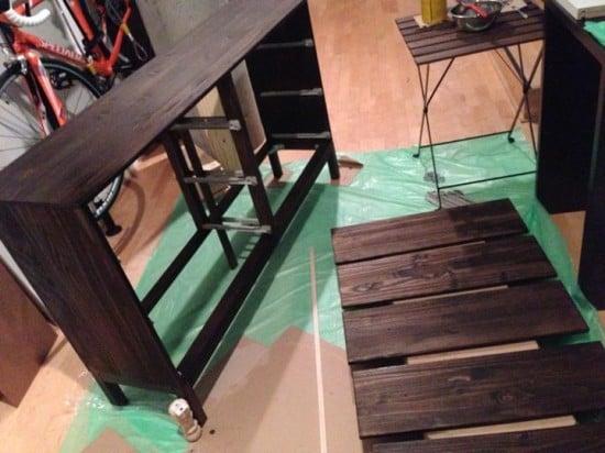 Antiquing Wardrobe Dresser - painting process