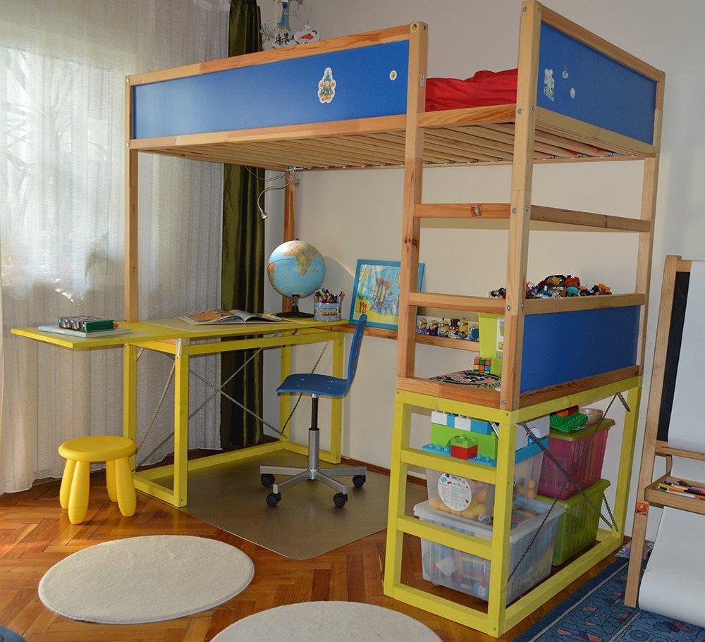 How to hack kura bed with study desk ikea hackers - Ikea lit superpose metal ...
