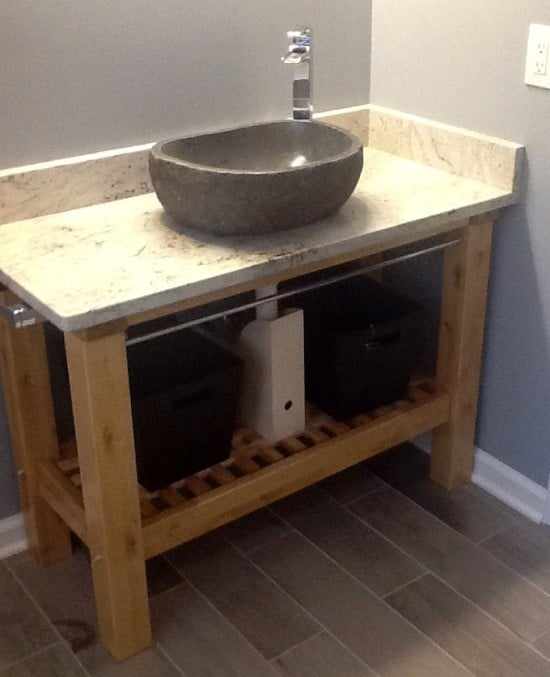 IKEA Groland Kitchen Island hacked into Bathroom Vanity