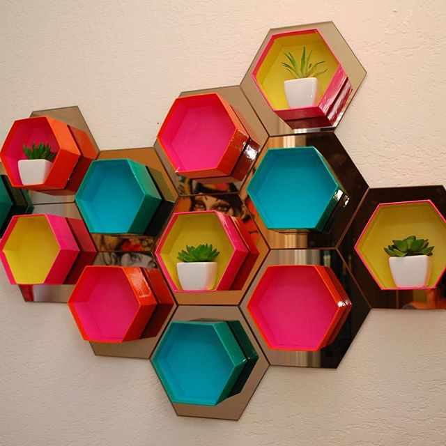 Hexagon wall cubbies