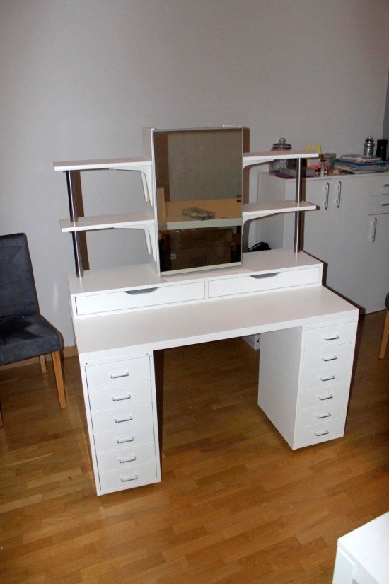 Makeup vanity with side shelving, plenty of storage and lights