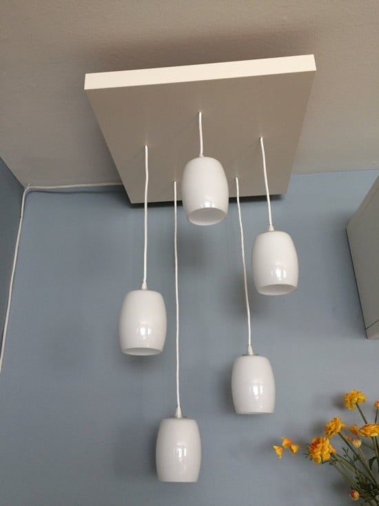 Close up of tiered pendant lighting