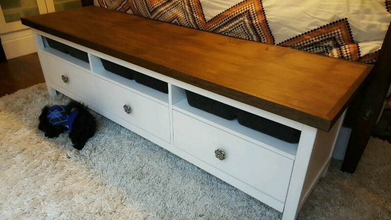 ikea hemnes media cabinet to bed end console ikea hackers ikea hackers. Black Bedroom Furniture Sets. Home Design Ideas
