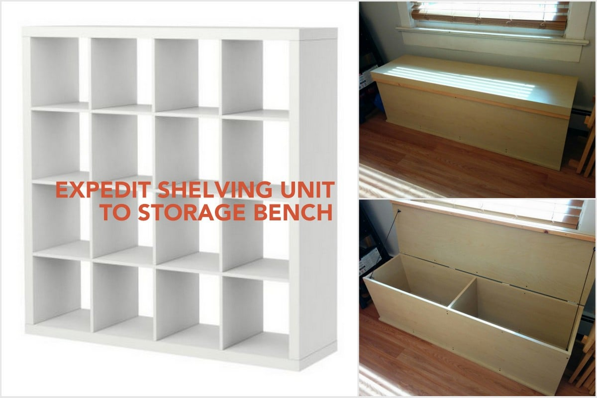 recycled old expedit shelf into a storage bench - ikea hackers