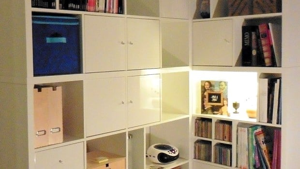 A made to measure kallax corner bookcase ikea hackers for Ikea closed bookcases