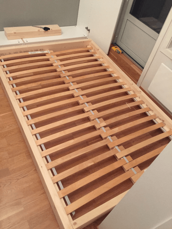 The bed frame with slatted bed base