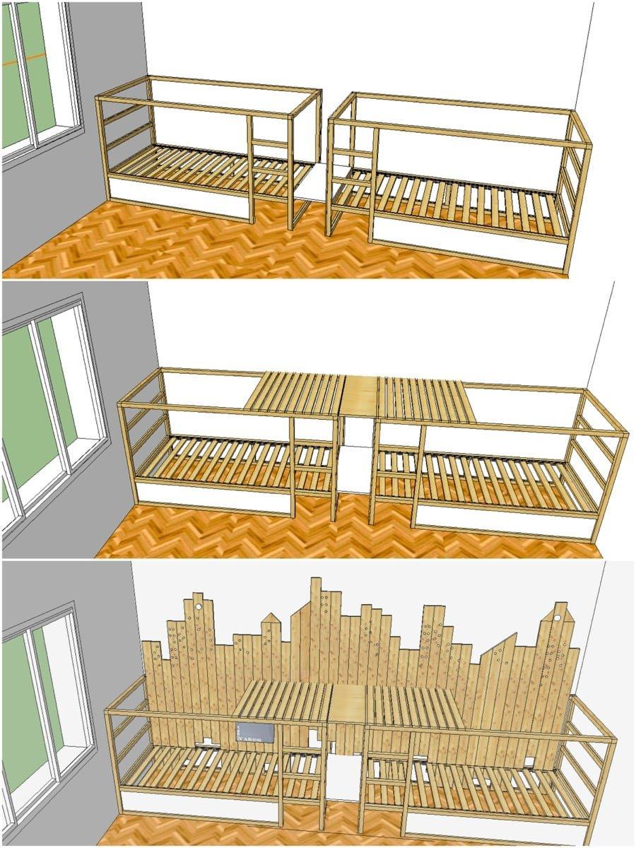 bunk beds for 3 in ikea kura city ikea hackers. Black Bedroom Furniture Sets. Home Design Ideas