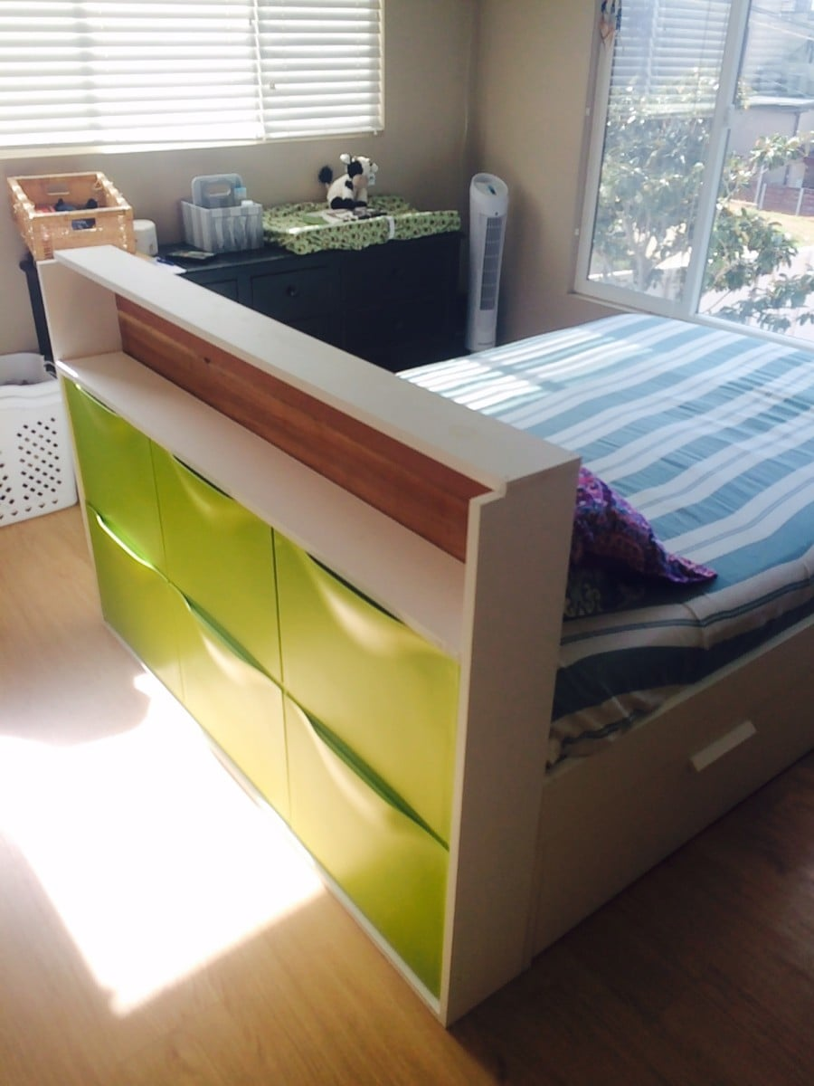 free-standing headboard with storage