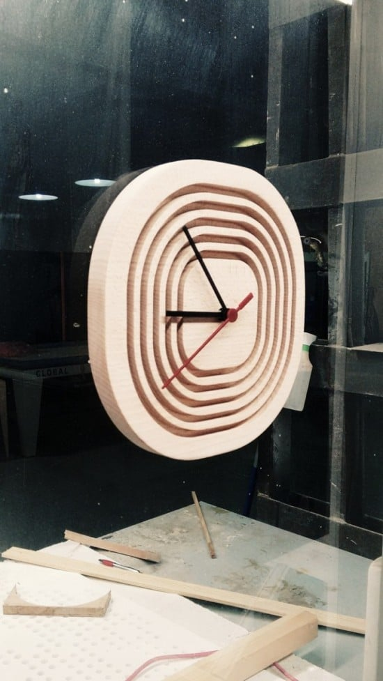 Customized wood case for the RUSCH clock