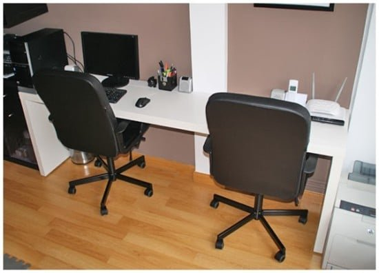 Double workstation with IKEA MALM and RIBBA