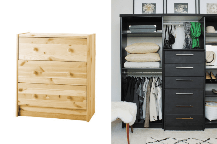 rast chest as wardrobe drawers