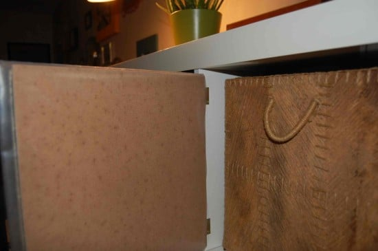 Use hinges to attach plywood to the Expedit