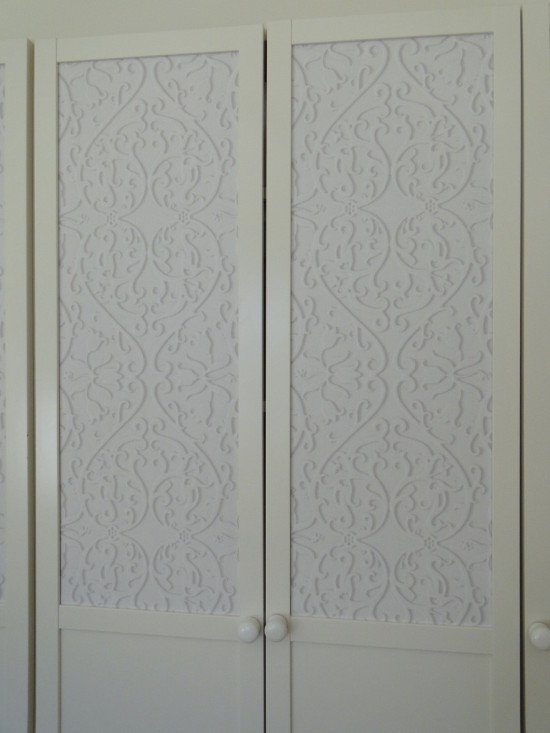 Affix wallpaper to BILLY OXBERG glass doors