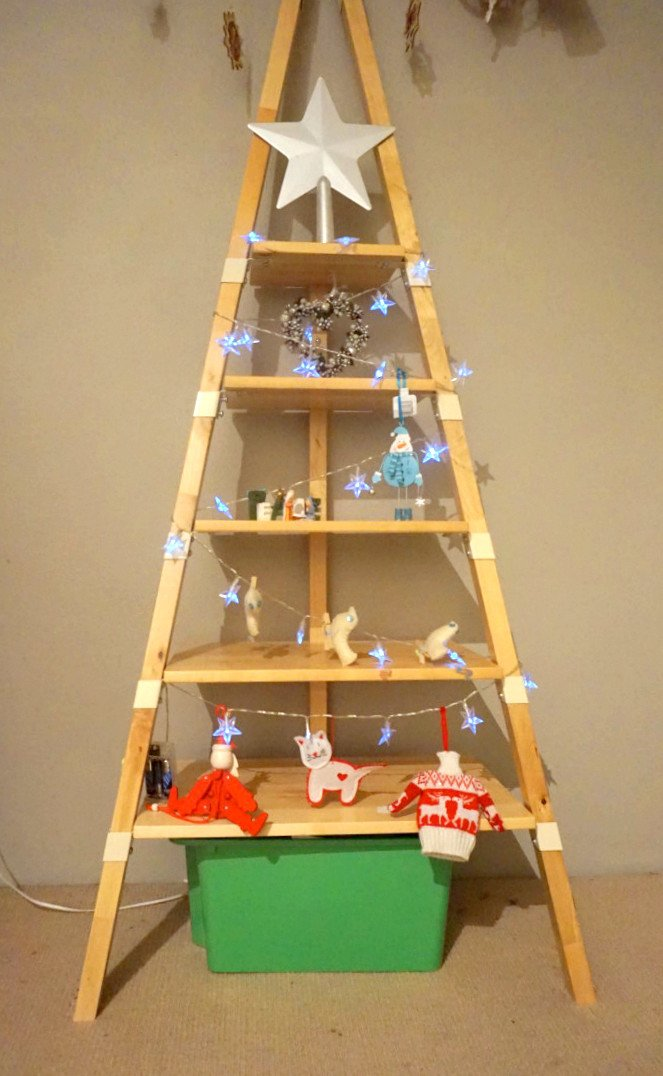 Quick And Easy Christmas Tree From Ps 2014 Wall Shelf Ikea Hackers