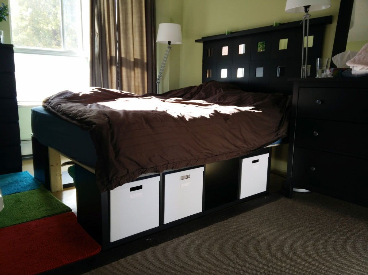 Kallax storage bed and malma headboard ikea hackers Brimnes headboard hack