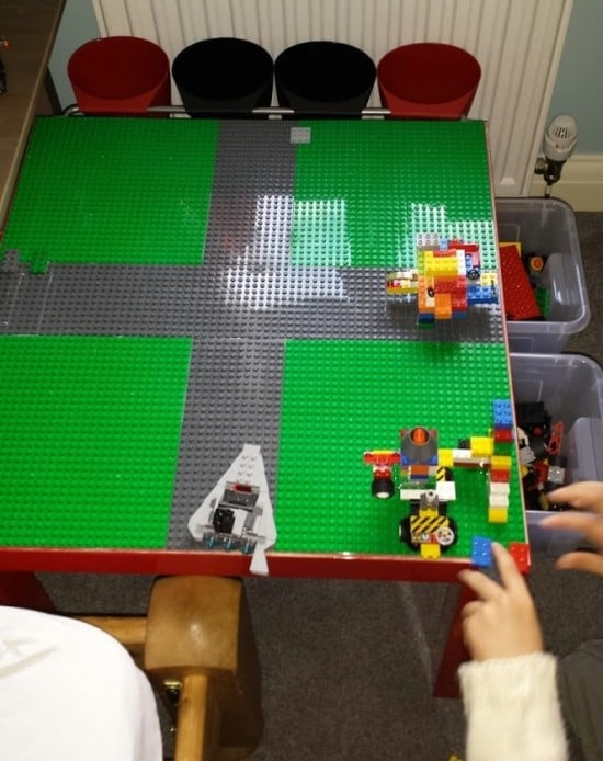 LACK LEGO table with built in storage drawers