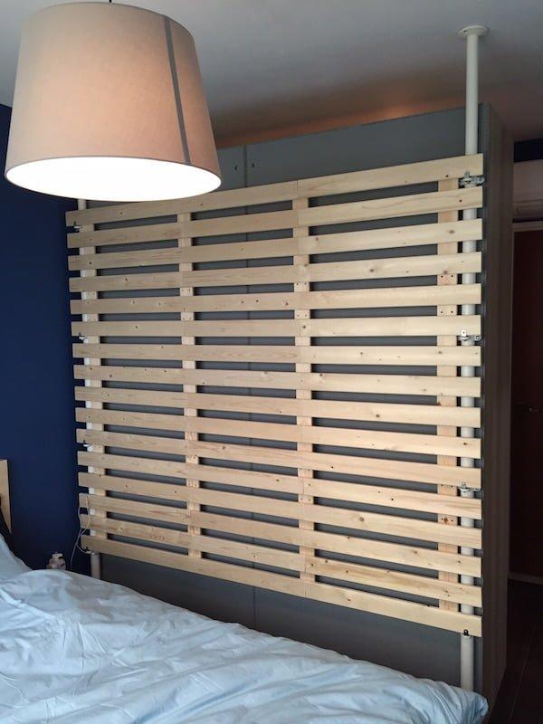 Multi purpose wooden partition from stolmen and lade for Room partition ikea