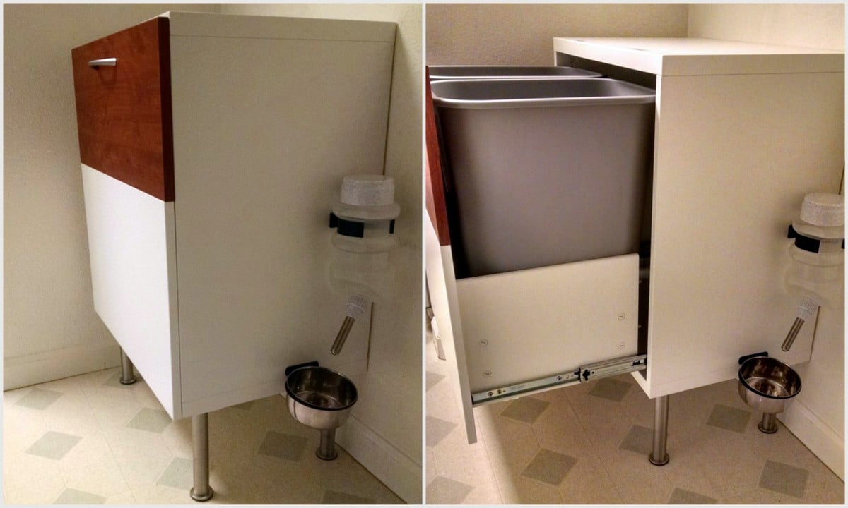 BESTA Dog Proof Recycle And Trash Cabinet