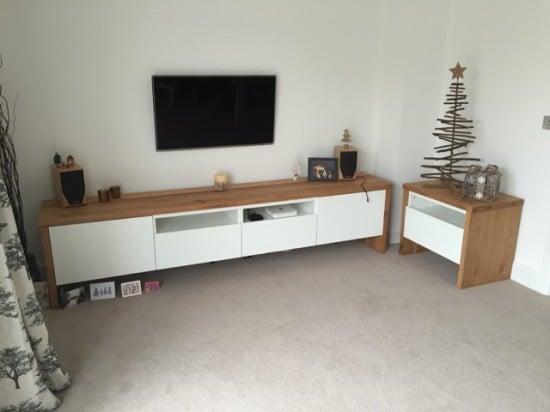 BESTA TV unit with oak wrap around