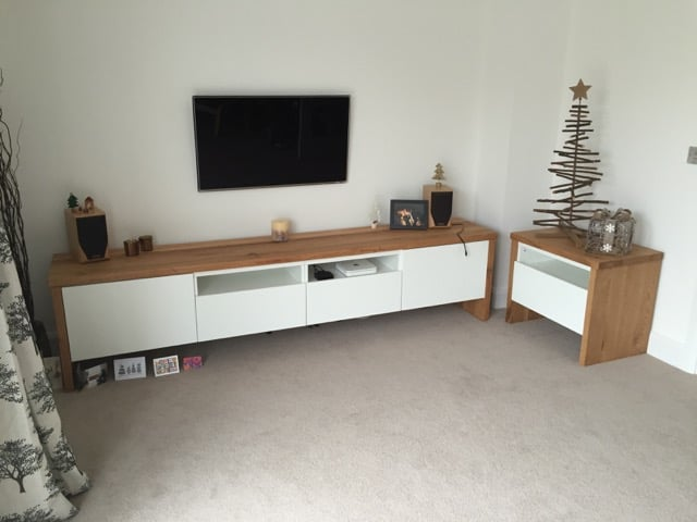 best tv unit with oak wrap around ikea hackers ikea hackers