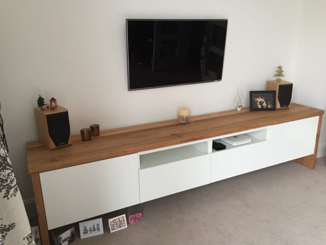 Besta Tv Unit With Oak Wrap Around Ikea Hackers