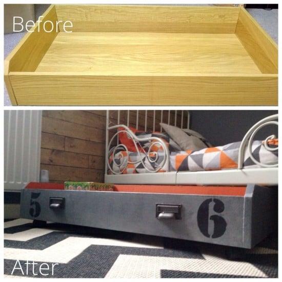 Under bed toy storage box on wheels