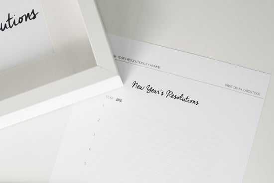 New Year resolutions card