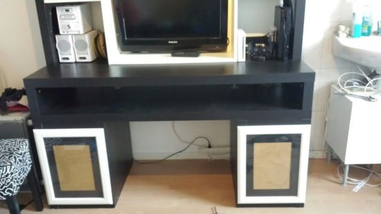 Here you can see the lack tv unit, side tables and the photo frames.