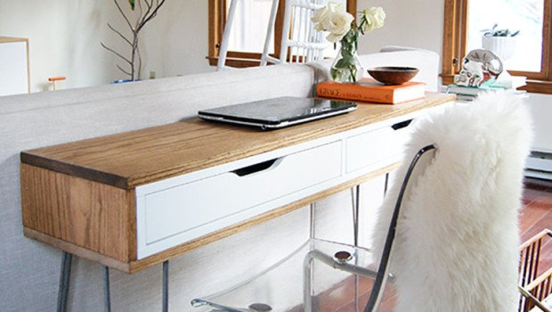 Slim Mid Century Laptop Desk IKEA Hackers