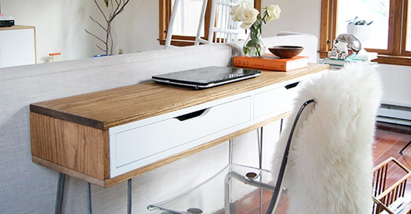slim mid century laptop desk ikea hackers ikea hackers. Black Bedroom Furniture Sets. Home Design Ideas