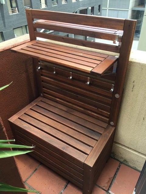 ÄPPLARÖ outdoor storage bench and potting table