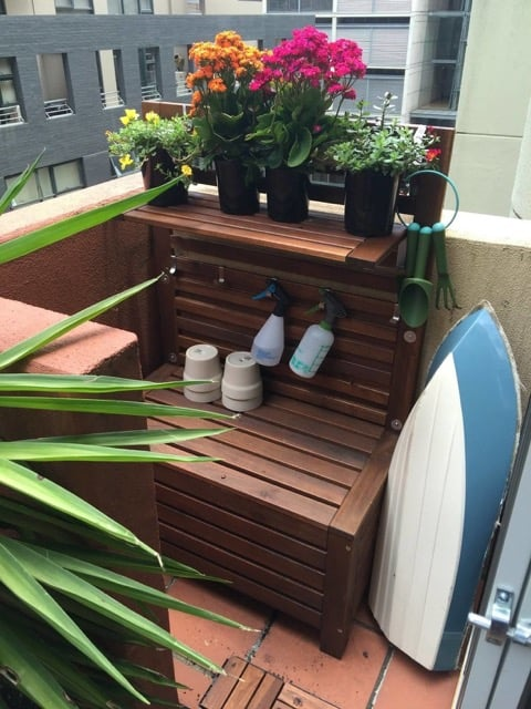 ÄPPLARÖ outdoor storage bench with freestanding wall panel and potting table