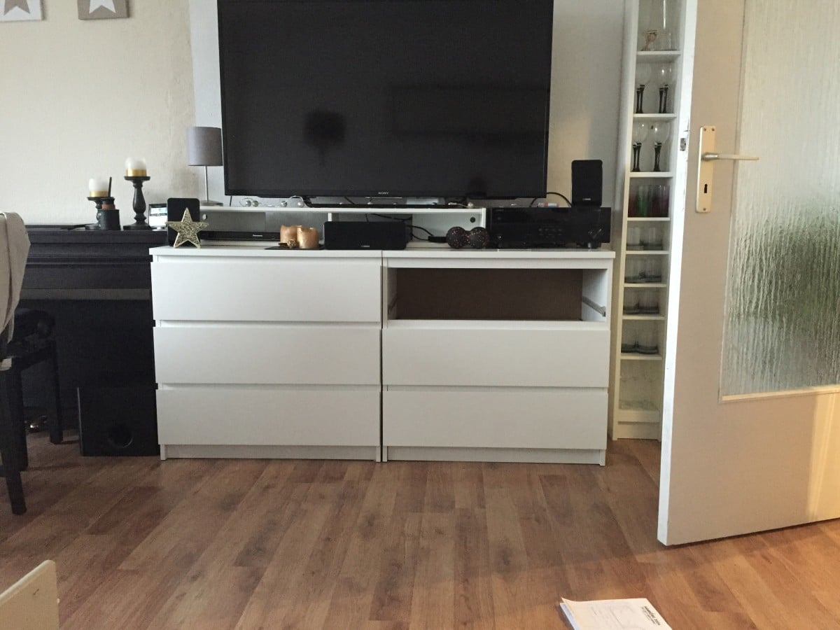 Two ikea malm chests as a tv highboard ikea hackers - Ikea table tv ...