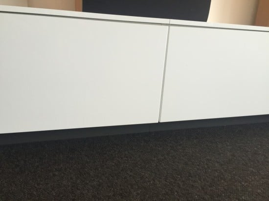 Close up of fridge top cabinets