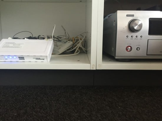 Fridge top cabinets for media storage