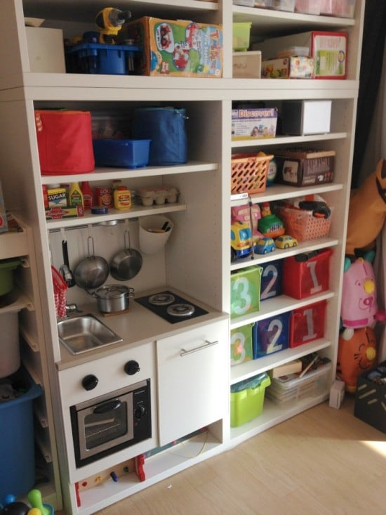 Built-in BESTA PlayKitchen with LED stove light & turnable stove knobs