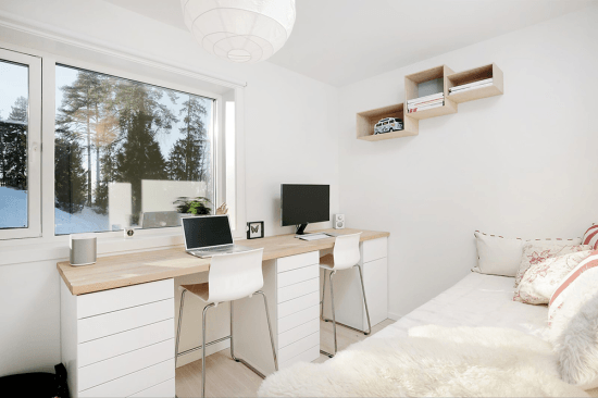 Double workstation from IKEA HAMMARP countertop and METOD cabinets