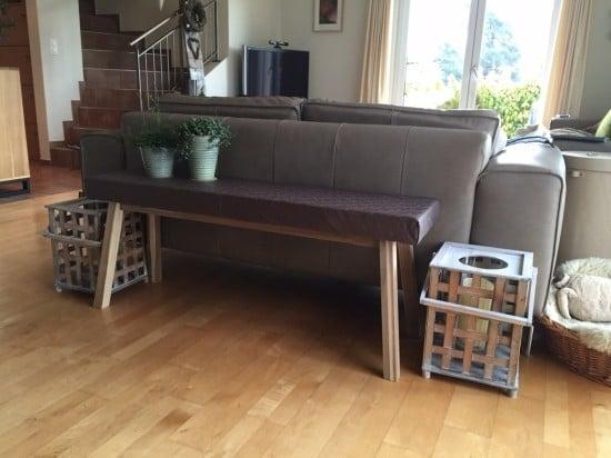 IKEA Skogsta narrow console table hack