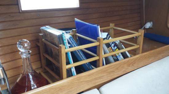 Book case for yachts using IKEA HUTTEN wine rack