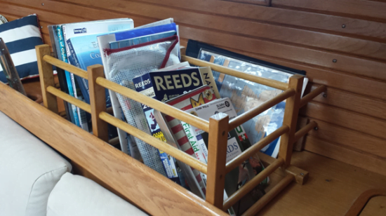 Book case for yachts using IKEA HUTTEN wine rack
