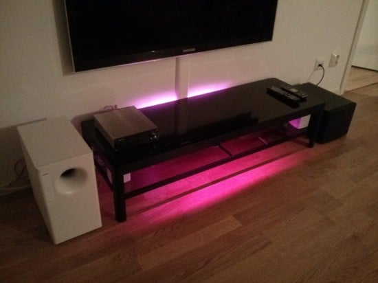 IKEA Gettorp media table with red backlight