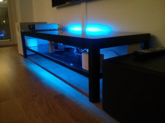 table with blue backlight