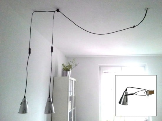 Turn FAS clamp spotlight into pendant lamp