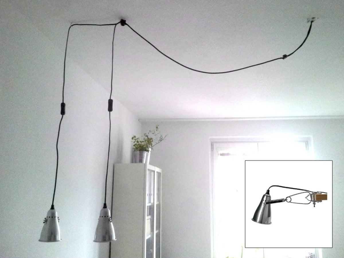 turn fas clamp spotlight into pendant lamp ikea hackers ikea hackers. Black Bedroom Furniture Sets. Home Design Ideas