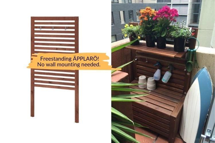 outdoor storage bench and freestanding IKEA APPLARO wall panel