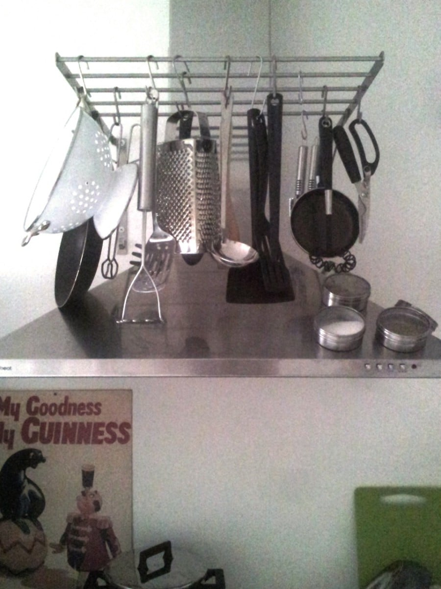 turn grundtal drying rack into a pot hanger ikea hackers ikea hackers. Black Bedroom Furniture Sets. Home Design Ideas