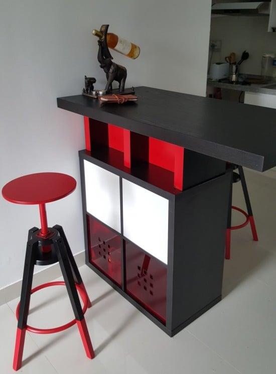 High dining table with KALLAX shelves