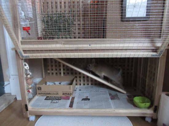 2-level indoor rabbit cage made from the IKEA HOL