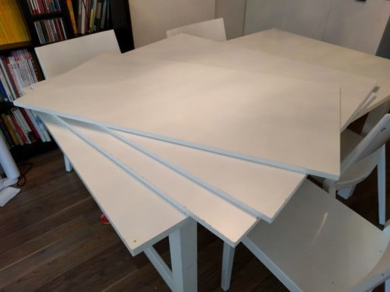 Melamine panels for the concealed puzzle table